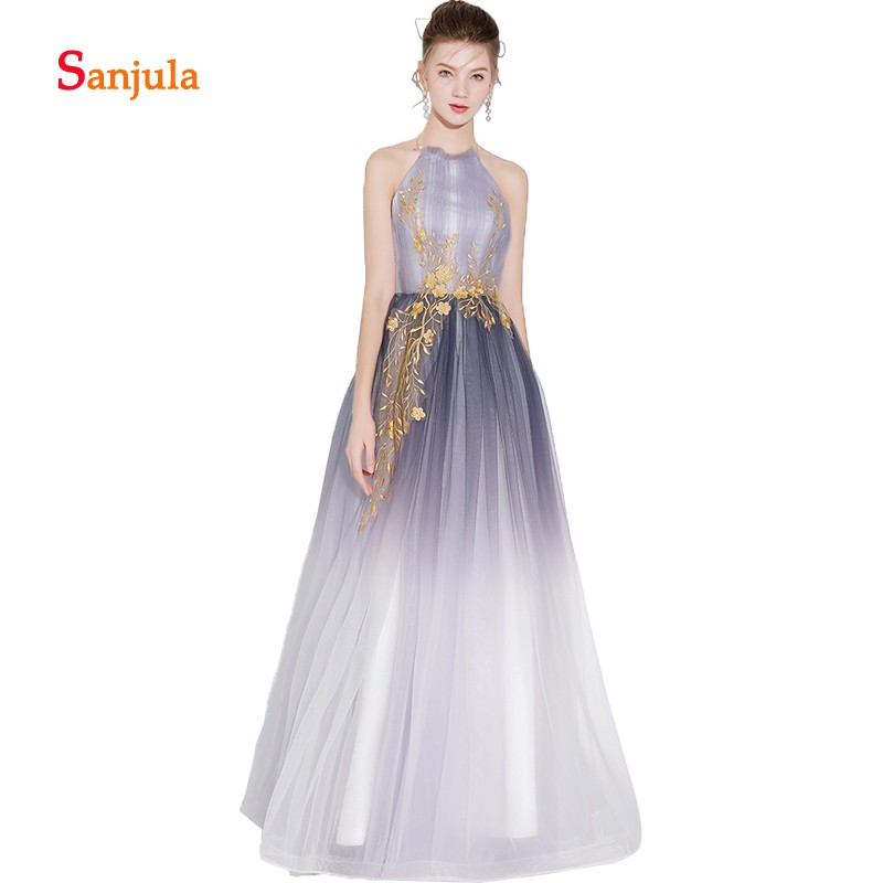 Halter A Line Prom Dresses Long Colormixture Grey Sweet Girls Prom Gowns with Gold Appliques Evening Gowns Backless D564 in Prom Dresses from Weddings Events