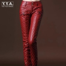 New Chic Winter Womens Faux Leather Slim Fit Pants Warm Trousers Leggings Skinny PU Leather Women