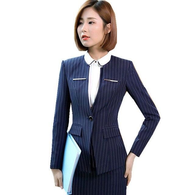 5df09e8e04d4 Fmasuth Women Jacket and Skirt Office Suits Winter Full Sleeve Stripe Blazer +Skirt 2 Pieces Formal Skirt Suits ow0412