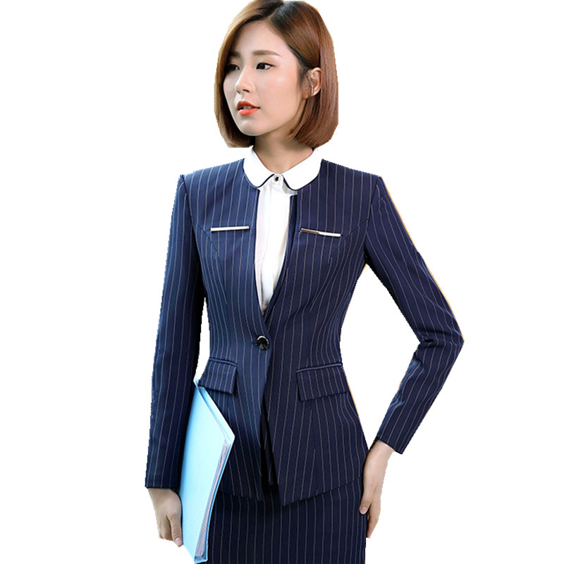 Fmasuth Women Jacket and Skirt Office Suits Winter Full Sleeve Stripe Blazer+Skirt 2 Pieces Formal Skirt Suits ow0412