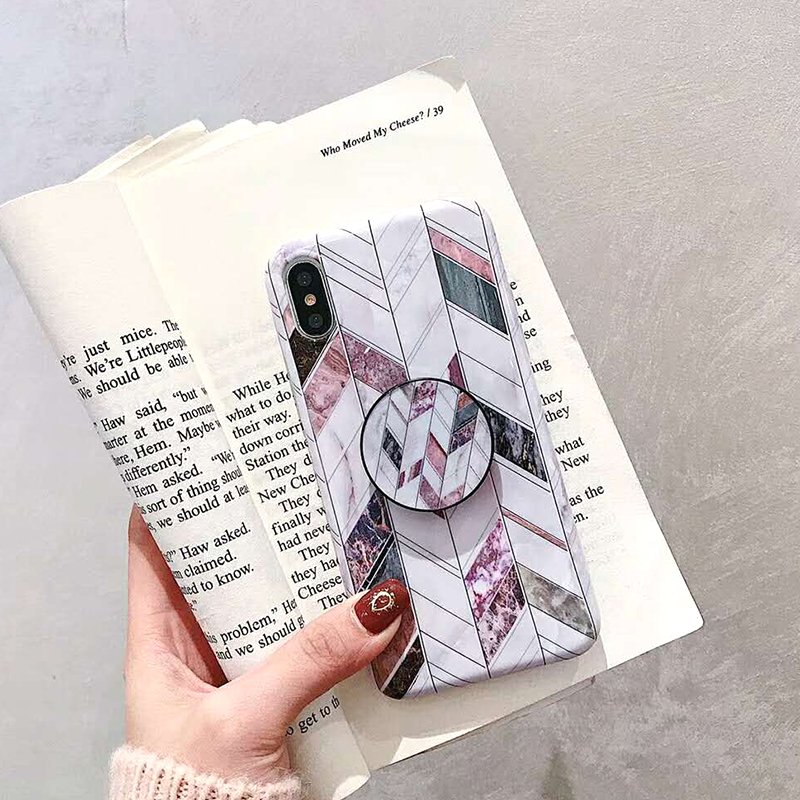 Geometric Marble Pattern Kickstand Phone Case For iPhone XS Max XR X 6 6S 7 8 Plus Fashion IMD Soft Protective Back Cover Coque (4)