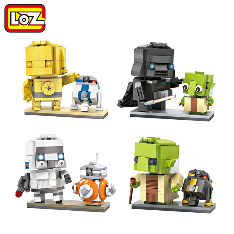 LOZ Star Wars Brick Heads Figure Mini Blocks Toy C3PO Stormtrooper Vader Yoda Assemblage Toy Offical Authorized Distributer loz pirates of the caribbean jack salazar mini blocks brick heads figure toy assemblage toys offical authorized distributer