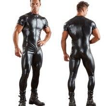 セクシーな男性双方向ジッパーオープンクロッチボディスーツ PU 光沢のあるキャットスーツジャンプスーツエロ衣装クラブパンク遊び着摩耗プラスサイズ F42