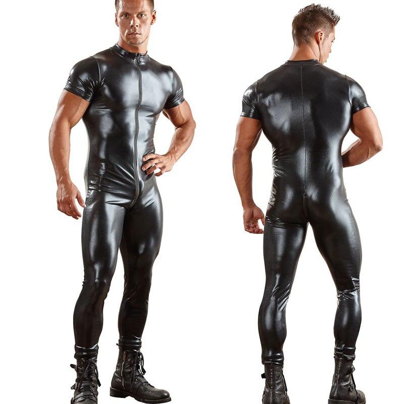 Sexy Men Two Way Zipper Open Crotch Bodysuit PU Shiny Catsuit Jumpsuit Erotic Costumes Club Punk Playsuit Gay Wear Plus Size F42