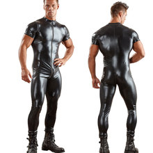 Sexy Men Two Way Zipper Open Crotch Bodysuit PU Shiny Catsuit Jumpsuit Erotic Costumes Club Punk Playsuit Gay Wear Plus Size F42