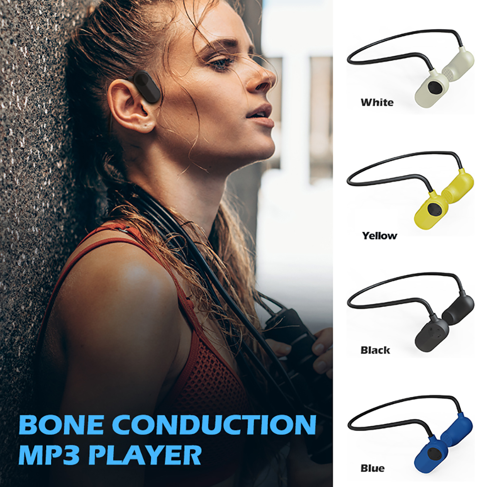Waterproof IPX8 Bone Conduction Headset MP3 Music Player Sport Wireless Headset Headphone For Women Men 8/16GB MP3 Music Player