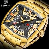 BENYAR золотые часы мужские часы лучший бренд роскошные известные наручные часы Мужские часы золотые кварцевые наручные часы календарь Relogio