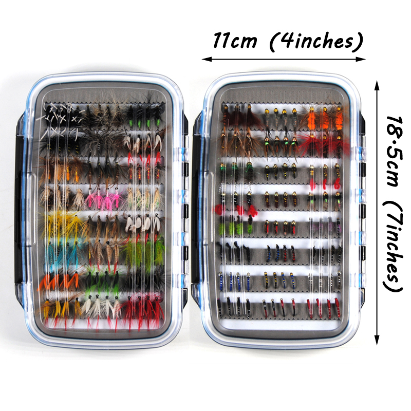 Bimoo 184pcs Wet Dry Nymph Fishing Fly Box Set Fly Tying Material Bait Fake Flies for Trout Grayling Panfish Fishing Tackle