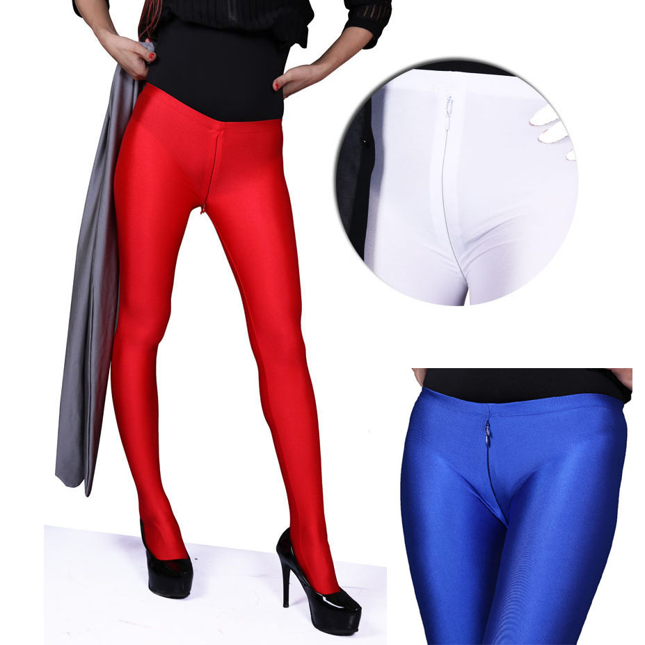 Low Waist Invisible Zipper Open Crotch Leggings Women Glossy Charming Exotic Pants Bodycon Shiny Pantyhose Sexy Boot Pant Capris