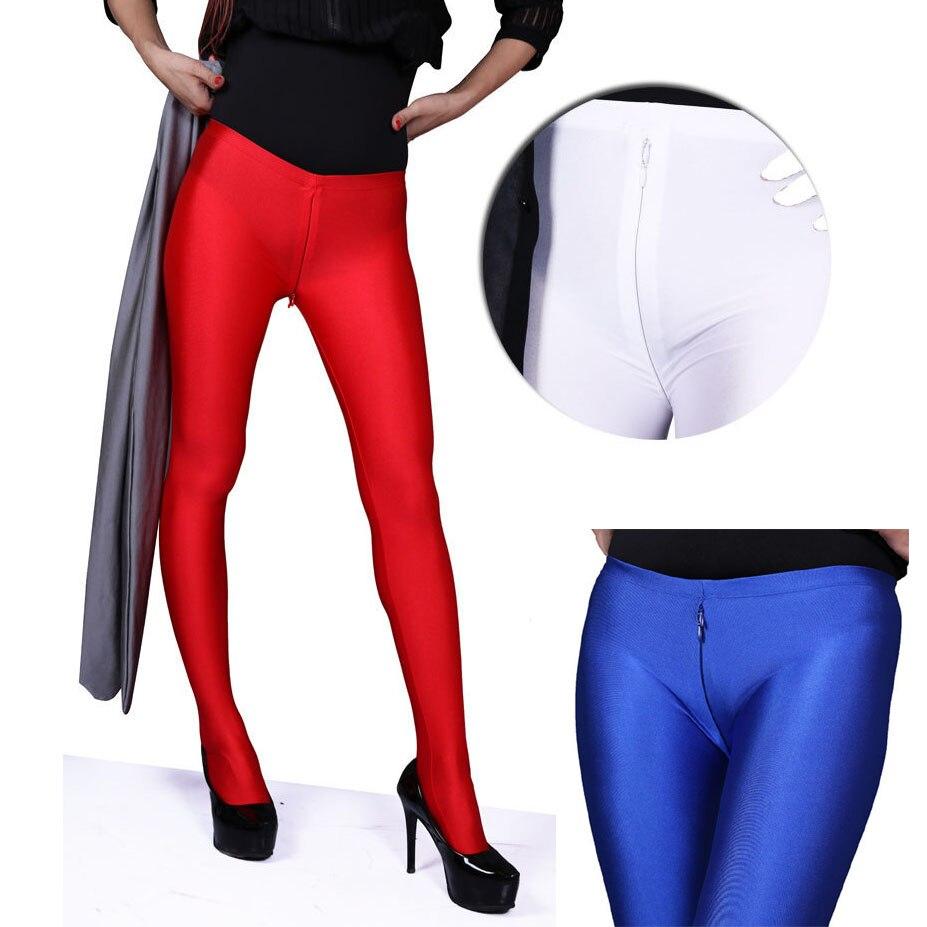 S-XXL Plus Size Zipper Open Crotch Leggings Women Glossy Charming Exotic Pants Bodycon Shiny Pantyhose Sexy Pant Capris Legging