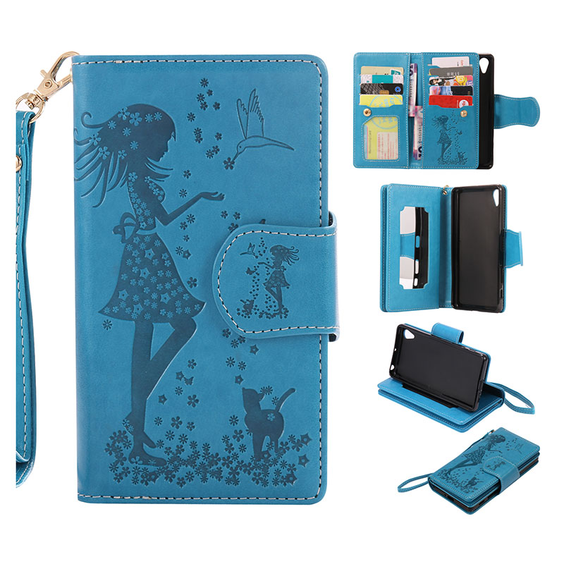 Fashion Flip Wallet Leather Case For Sony Xperia X Performance Stand Magnetic Purse Cover + Photo Frame + 9 Card Slots Phone Bag