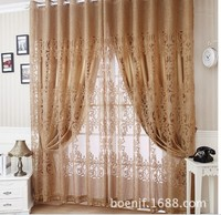 Jacquard curtain and tulle with beads , custom curtains set , free trim for different length