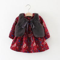 Fashion New 2017 Baby Infant Princess Dress Fur Vest Girls Winter Floral Dress Newborns Clothes Sets