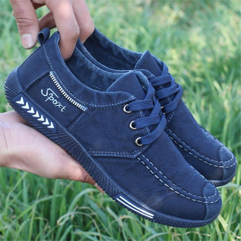 NEW Canvas Men Shoes Denim Lace Up Men Casual Shoes Plimsolls Breathable Male Footwear Spring Autumn sneakers size 39 46 in Men 39 s Casual Shoes from Shoes