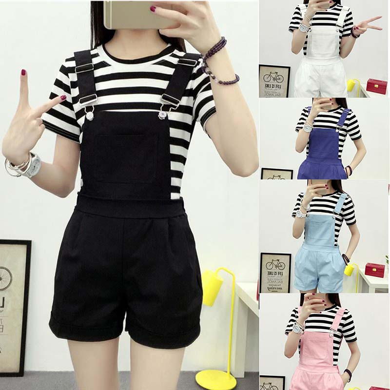 New Denim Overalls Women Summer Lovely Jumpsuits Spring Denim Jeans Overalls Shorts Female Pink/white Overall Jumpsuit