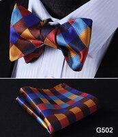 Check Polka Dot Silk Jacquard Woven Men Butterfly Self Bow Tie BowTie Pocket Square Handkerchief Hanky Suit Set G5 2