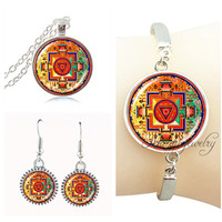 Mandala Necklace Earring Set Om Symbol Yoga Chakra Henna Pendant Necklace Bracelet Bangle Indian Jewelry Set