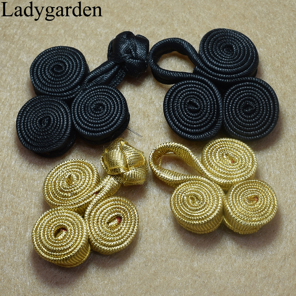 5 Pairs Hand Stitched Frog Fasteners  Button Knots Colour Metallic Gold  #S15