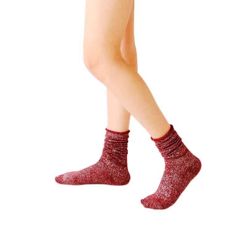 Shiny Long Socks Women Cotton Winter Glitter Golden Thick Loose Socks Harajuku Soft Piles Socks Edge Curl Solid Funny Socks
