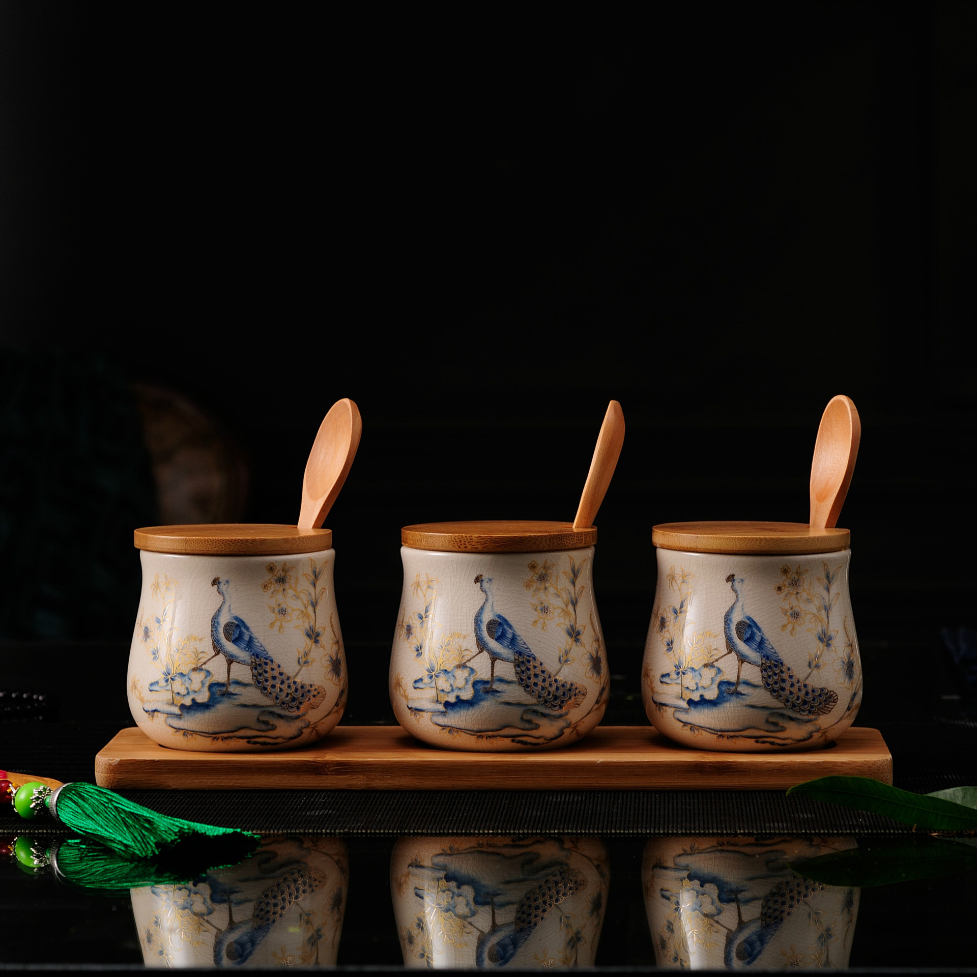 Cuisine créative en céramique assaisonnement Pot avec couverture en bambou cuisine Condiment boîte Scrylic épices boîte de rangement assaisonnement boîtes 3 pièce