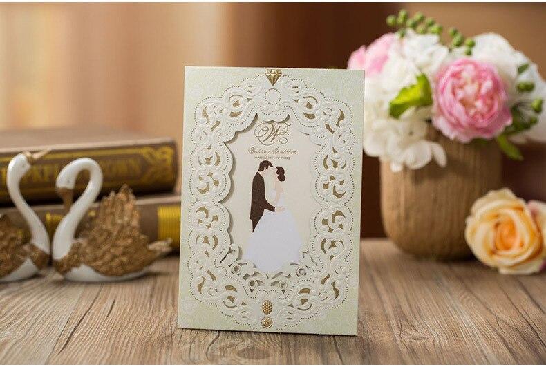 Hoge kwaliteit huwelijksuitnodigingen kaarten 185 * 127 mm wit voor - Feestversiering en feestartikelen