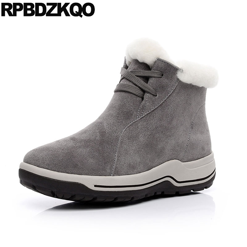 Platform Shoes Suede Lace Up Casual Sneakers Flatform Real Fur Booties Gray Big Size Muffin Furry Winter Snow Boots Women Ankle winter 2016 womens boots big size handmade rhinestone studded flat shoes woman platform faux fur snow boots casual ankle booties