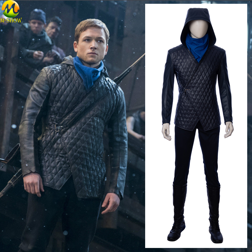 Movie Robin Hood Cosplay Costume Taron David Egerton Leather Cosplay Halloween Costumes For Adult Men Custom Made