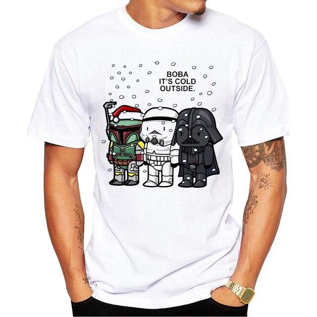 2017 Nuevas Llegadas Star Wars Boba de Dibujos Animados Impreso Hombres camiseta de Manga Corta T Camisa Casual Tops Camisetas Frescas