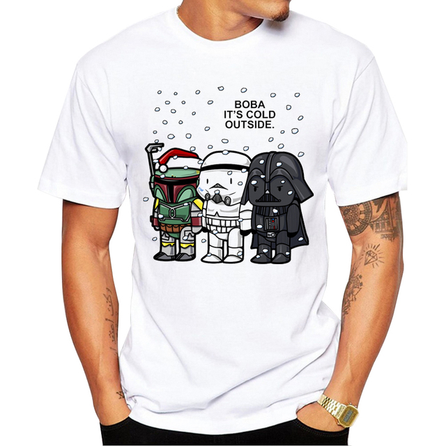 2018 nuevas llegadas boba Cartoon impreso hombres manga corta Camiseta Star Wars camiseta Tops camiseta fresca Camisas