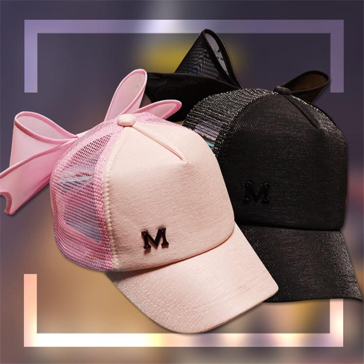 Prix pour Net fil Bowknot Lettre M casquette de baseball Hip Hop Femmes hommes de mode courbe bord mâle femelle snapback soleil-preuve chapeau de camionneur chapeau
