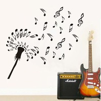 Creative Design Microphone Music Notes Wall Sticker For Living Rooms Diy Vinyl Adhesive Wall Art Decals