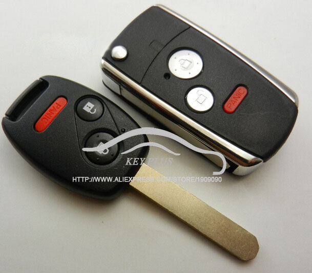 3 Buttons Modified Remote Flip Folding Key Shell Case Fob Keyless For Honda Accord Civic Pilot 2 + 1 Panic