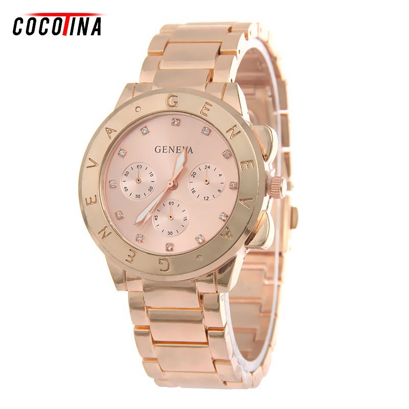 COCOTINA New Fashion Geneva Watch Women Dress Watches Rose gold Steel Analog Quartz men Ladies Rhinestone Wrist watches WT0237  hot luxury brand geneva fashion men women ladies watches gold stailess steel numerals analog quartz wrist watch for men women