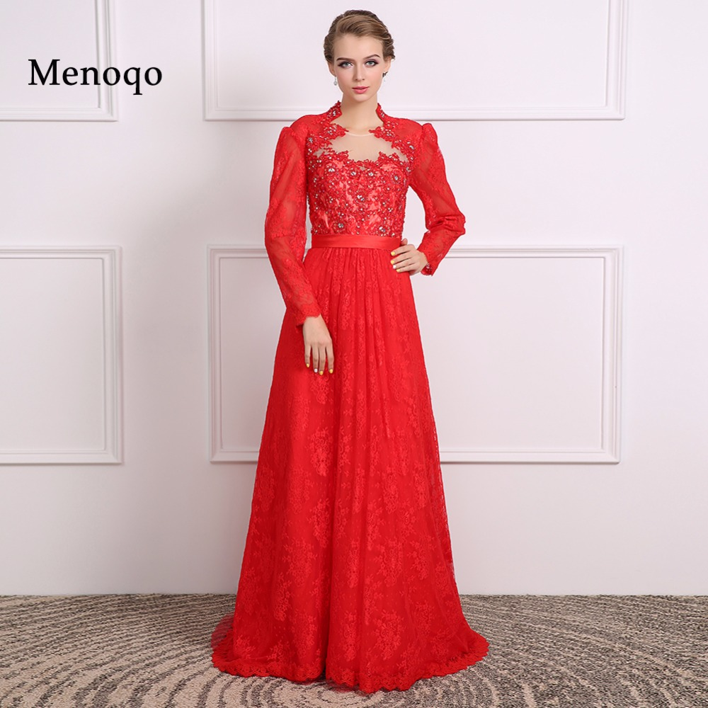 Mother of the bride dresses 2019 Red gown Long sleeve lace evening dress plus size available