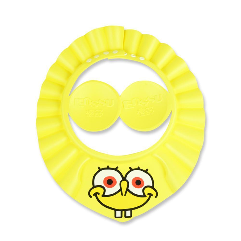 Enssu Brand Baby Kids Safe Shampoo Shower Bathing Cap Adjustable Elastic Soft Hat SpongeBob SquarePants Bathing Shower Cap