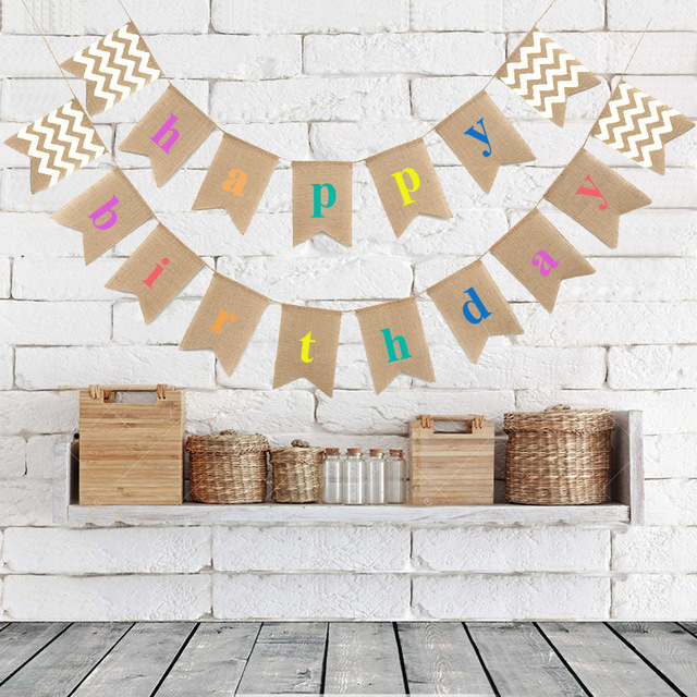 Rustic Burlap Happy Birthday Banner Baby Shower Decorations Photobooth Party Bunting Garland