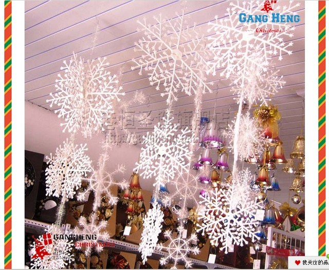 christmas decorations supplies white snow snowflakes hanging ornaments set of 6 pcs different size - Different Christmas Decorations
