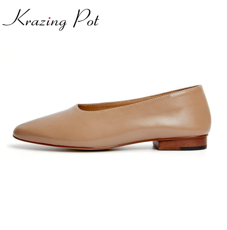 2018 big size Solid colors gladiator low heel round toe genuine leather grandma shoes graceful comfortable