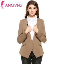 ANGVNS Women Formal Blazer Open Front Draped Asymmetric Coat Solid Autumn Long Sleeve Suit Office Ladies All Match Blazer Jacket