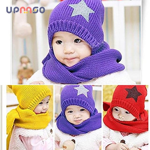 Online Shop Baby Cap Children Warm Hatscarf Five Star Two Piece Set