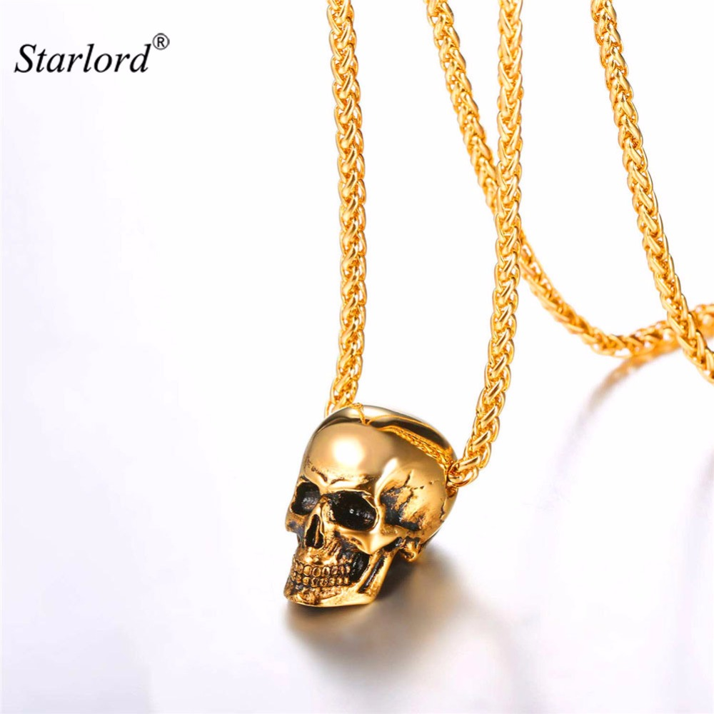 Starlord Skull Pendant Necklace Stainless Steel/Gold/Black Color Mens Skull Necklace Punk/Gothic Necklace Halloween Gift GP2776Starlord Skull Pendant Necklace Stainless Steel/Gold/Black Color Mens Skull Necklace Punk/Gothic Necklace Halloween Gift GP2776