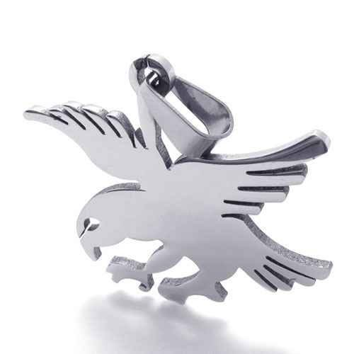 Fashion Jewelry 316L Stainless Steel Necklace Wire Cutting Silver Eagle Hawk Bird Pendant Necklaces 21077