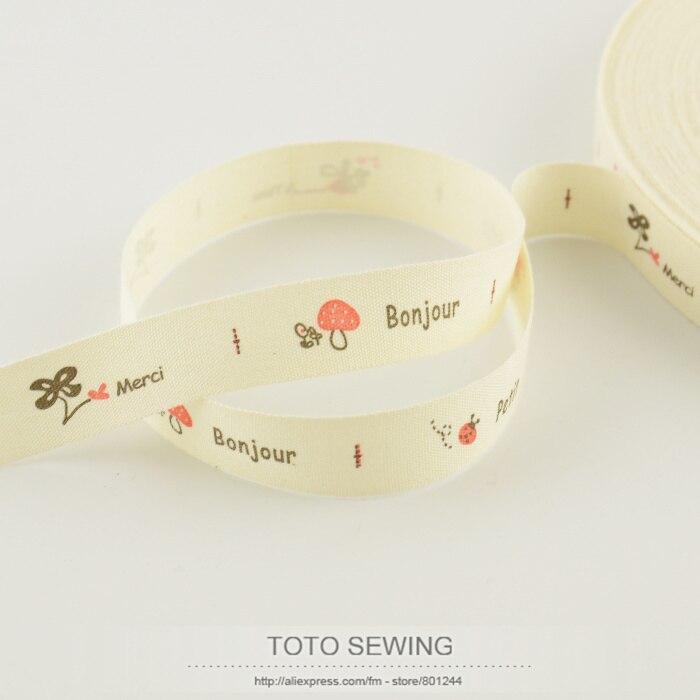 Бесплатная доставка Тото швейных аксессуаров mini. заказ $5 (смешанный заказ) 1.5 см ширина ZAKKA гриб растительного label Хлопок ленты Швейные