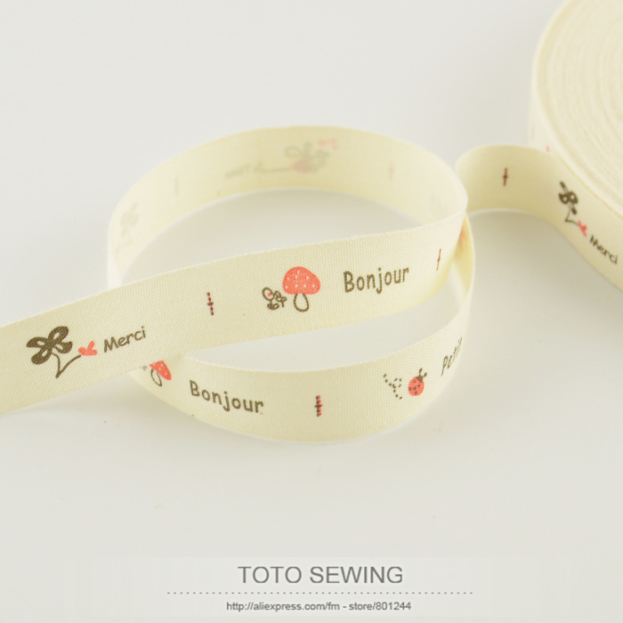 FREE SHIPPING TOTO sewing accessory mini.order is $5 (mix order)1.5CM width Zakka mushroom vegetable label cotton ribbons sewing