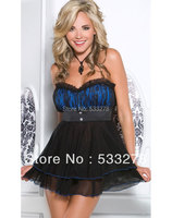 Wholesale Sexy Lingerie Romantic Baby Doll Set Red Blue I2688