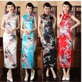1pcs/lot free shipping Traditional Chinese Dress Vintage Chinese Women's Satin Long Cheongsam Qipao Flowers Print Tang Suit