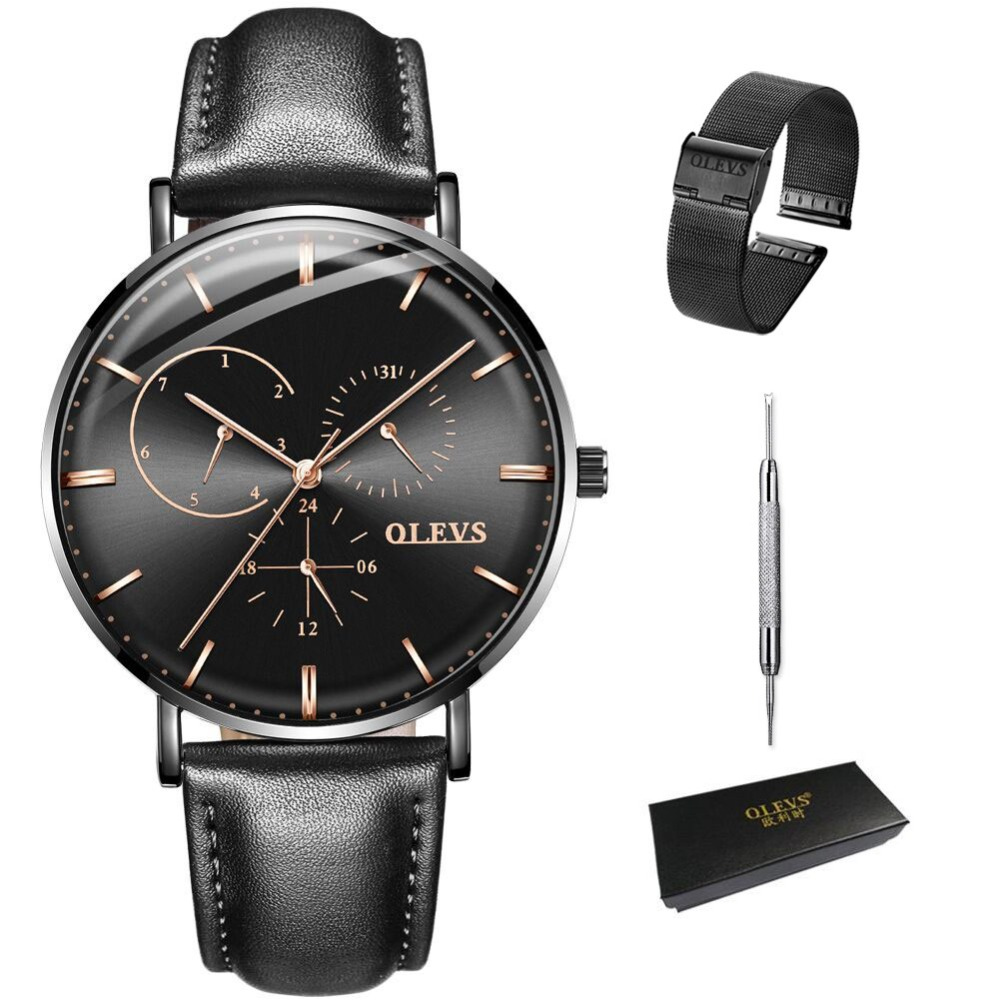 OLEVS Business Black Men Watch Week Display Military Quartz Mens Wristwatch reloj Leather Man Clock Date