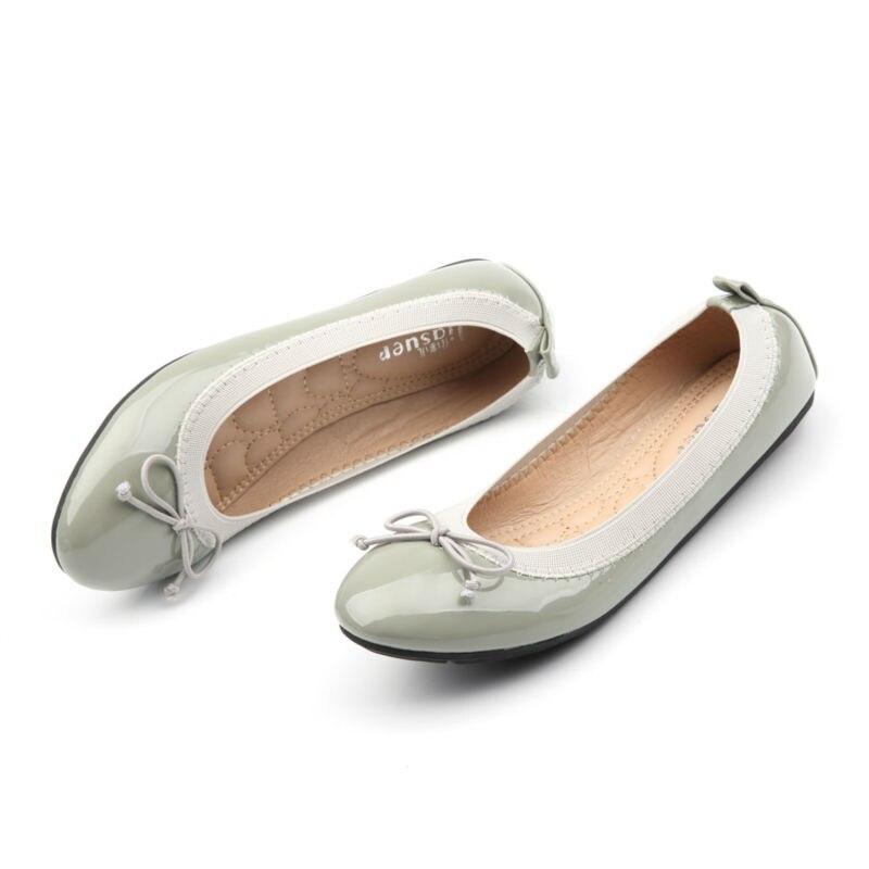 De Cuero hecha a mano Ballet Talón Zapatos de Las Mujeres Con Arco Casual Slip O