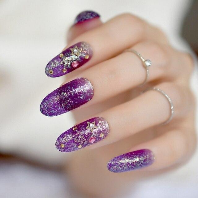 Clear Purple Metallic Star Long Round False Nails Iridescent Colorful Glitter Rhinestones Fake Salon Summer Wear