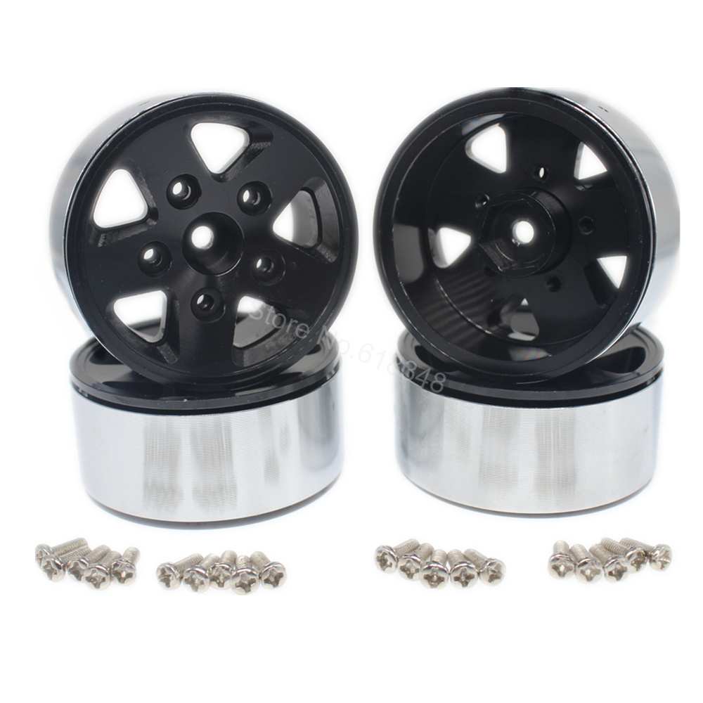 4pcs/Lot Heavy Aluminum Metal 1.9 inch BEADLOCK Wheel Rims 12mm Hex Hub For RC 1:10th Model Car Rock Crawler 2pcs 2 2 metal wheel hubs for 1 10 scale rc crawler car nv widen version outer beadlock wheels diameter 64 5mm width 43 5mm